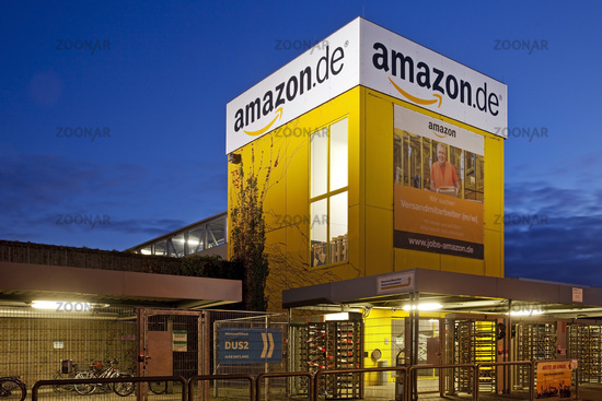 Amazon Logistics Center, twilight, Rheinberg, North Rhine-Westphalia, Germany, Europe