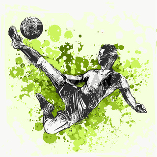 Soccer player kicking ball. illustration of sport