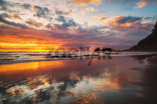 Dramatic Sunset at the Beach, Color Image