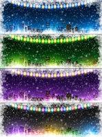 Set of Christmas city background