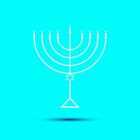 Hanukkah Menorah on Light Blue Background a