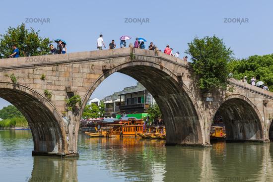 Shanghai, China - May 23, 2018: Bridge across the canal in Zhujiajiao water town
