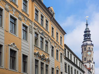 Historic buildings in the old town of city Goerlitz with town hall in the background, Saxony, German