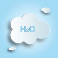 Cloud with water formula on blue sky background.