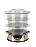 Kitchen appliance steamer for food with three transparent containers isolated on a white background.