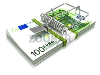 3D render mousetrap installed on euro banknote stack