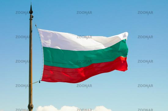 The Bulgarian Flag over the Memorial of Liberty Shipka, Gabrovo, Bulgaria. The national flag of Bulg