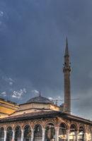 Exterior view to Ethem Bey Mosque at Skanderbeg square, Tirana, Albania