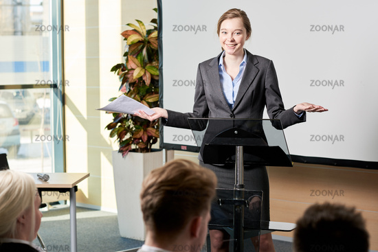 Young Businesswoman Giving Speech