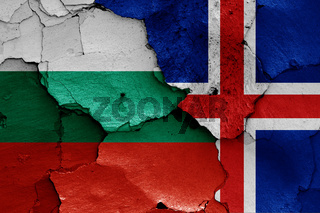 flags of Bulgaria and Iceland painted on cracked wall