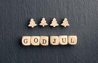 God Jul, Scandinavian Merry Christmas with Christmas tree shapes