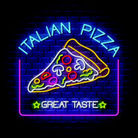 Italian Pizza - Neon Sign Vector on brick wall background