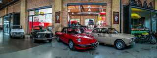 Panoramic view of the garage of Classic Remise Berlin, and repair and service offices.