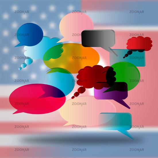 North Korean United States Speech Bubbles 3d Illustration