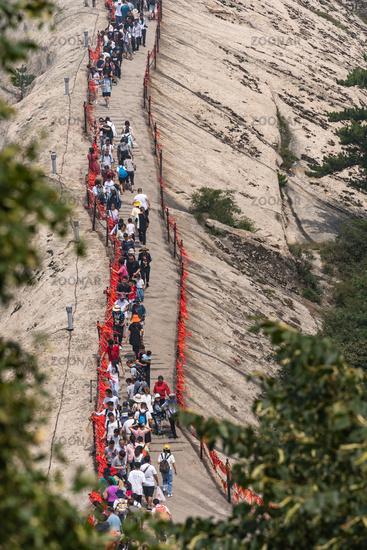 Crowds on a ridge at West Peak in Huashan mountain
