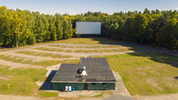 Old Abandoned Drive In Aerial Perspective Movie Screen Snack Bar