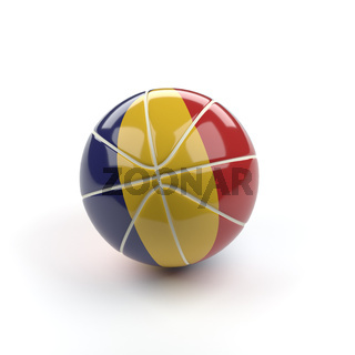 Basketball with the flag of Romania