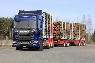 New Scania R730 Logging Truck on Road