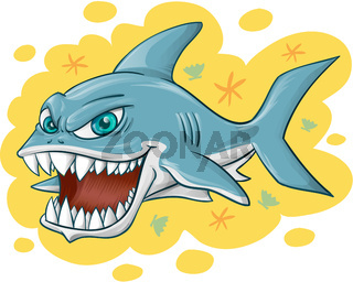 shark cartoon on yellow background