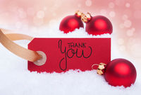 Red Christmas Ball Ornament, Snow, Label, Thank You