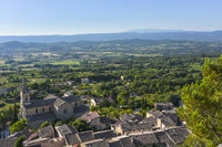 panorama view over Luberon valley to mountain Mont-Ventoux from Bonnieux