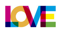 Love text in colorful style. Geometric and flat.