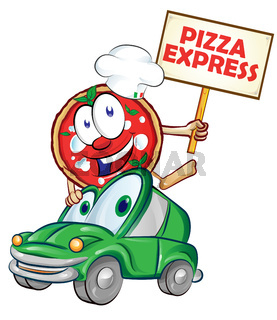 Pizza express delivery car cartoon with signboard