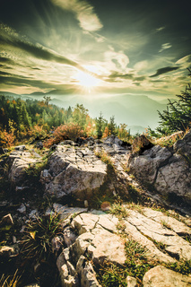 Autumn Sunset landscape in the mountains of Austria