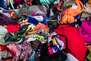 Summer street market store of woman bikini swimsuits.