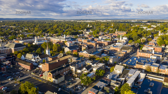 Early Morning Aerial View Over Downtown City Skyline Carlisle Pennsylvania