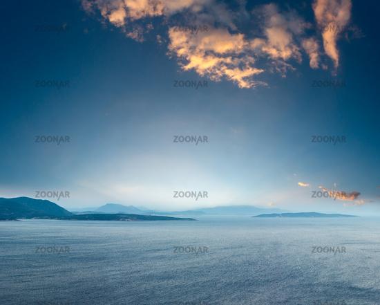 Sunset Lefkas island shore, Greece