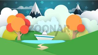 Cartoon paper landscape. Lake, ship, mountain.