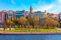 Istanbul and the Galata Tower, sunny day view
