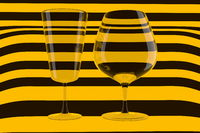 pair of empty wine glasses and wine on the stripped background. 3d illustration