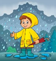 Girl in rainy weather theme image 2