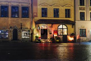 Warsaw, Poland U Fukiera restaurant Halloween decoration facade.