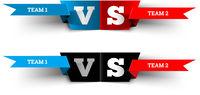 Versus design on white. Blue team versus red team. VS fight vector illustration for poster, infographics, etc.