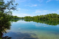 Forest lake in German national park with clear blue sky reflection