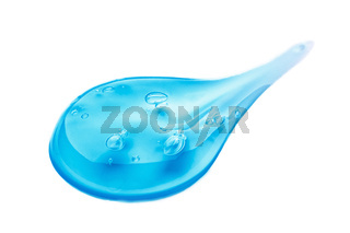 Cosmetic Cream Gel Texture Isolated On White Background. Close Up Of Green Transparent Drop Of Skin Care Product. High Quality