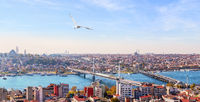 Golden Horn and the bridges of Istanbul, beautiful panorama