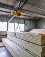 At sawmill. View on loading of wooden bars