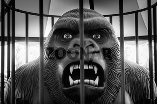 raging gorilla caged King Kong