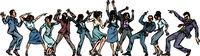 dancing people businessmen and businesswomen