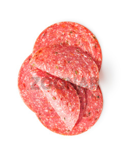 Salami smoked sausage slices with spice chili peppers.