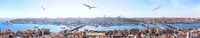 Istanbul bridges over the Golden Horn - the Galata Bridge, the Halic metro bridge, the Ataturk bridge, panoramic view