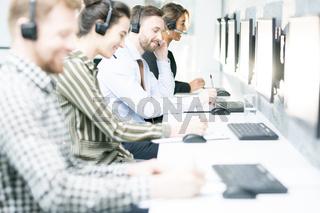 Customer Support Operators in Row