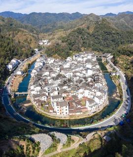 aerial view of ancient jujing village