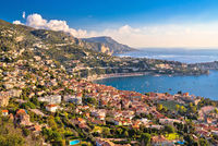 Villefranche sur Mer and Cap Ferrat on French riviera coastline view