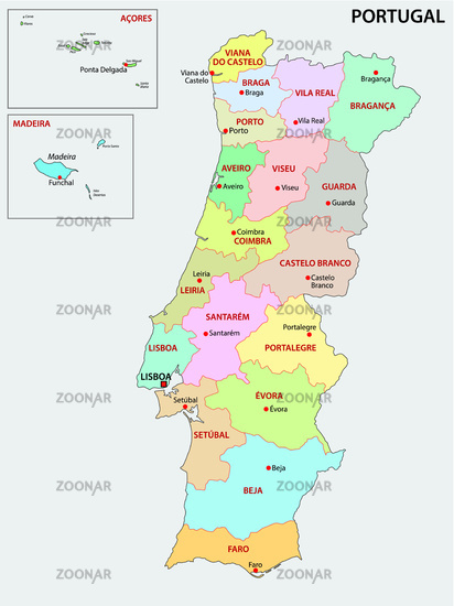 portugal administrative and political map Image
