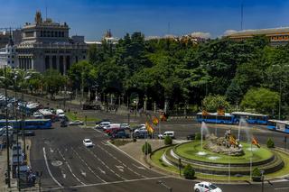 Madrid, Spain Ciberles Fountain with Spanish flags.